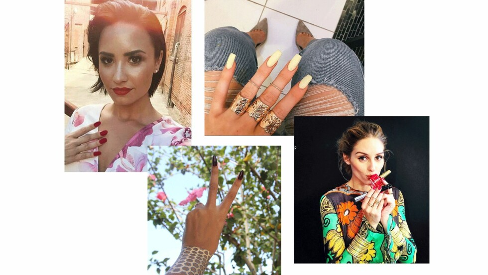 SOMMERENS NEGLELAKKFARGER: Både Demi Lovato og Olivia Palermo går for rød neglelakk denne sesongen - en sikker vinner! Men bare se så fint det er med både gult og en mørk farge! Foto: Scanpix