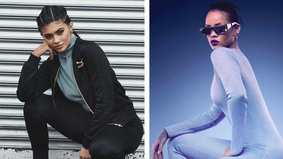 TO KULE DAMER: (f.v.) Kylie Jenner og Rihanna er blant de største stjernene i verden. Det var derfor veldig overraskende da de begge dukket opp i antrekk fra det danske merket Ganni. Foto: Scanpix