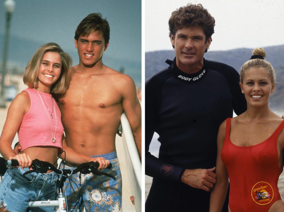 FORSTØRRET BRYSTENE: Plutselig en dag dukket Nicole Eggert med nye bryster på jobb. Hun hadde valgt å bruke ferien på å få silikonbryster. Her med Kelly Slater (t.v.) og David Hasselhoff i henholdsvis 1992 og 1993. Foto: NTB Scanpix