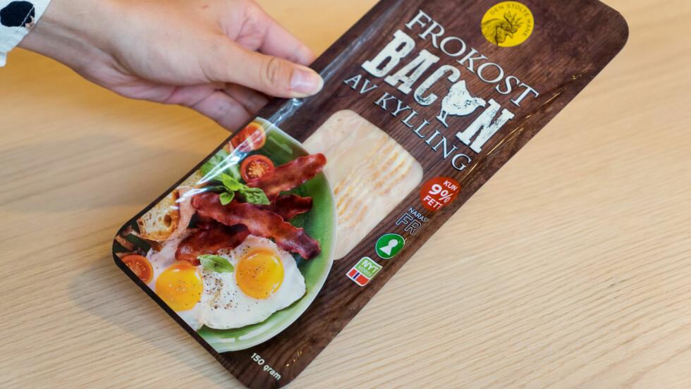 FROKOSTBACON AV KYLLING: Ernæringseksperten er positiv til det nye kyllingbaconet, men hvordan er det med smaken? Smaker det som vanlig bacon av svin?  Foto: Per Ervland