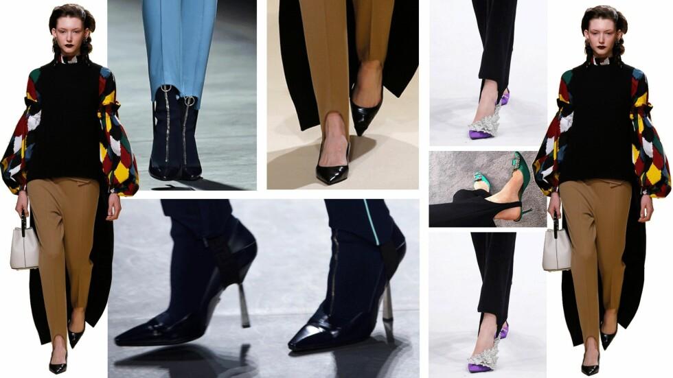 PÅ CATWALKEN: Marni, Balenciaga og Versace har tenkt likt for høstsesongen. Nå er nemlig leggingsene tilbake, men denne gangen med et feste som går under foten! Foto: Scanpix, Skjermdump fra Instagram/pernilleteisbaek