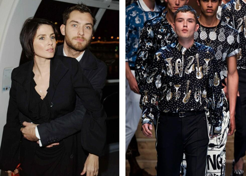 <strong>RAFFERTY LAW:</strong> Sønnen til skuespiller Jude Law og Sadie Frost, Raffert Law, gjør det godt som modell. Her (t.h.) på catwalken for Dolce & Gabbana. Sadie Frost og Jude Law (t.h.) er ikke lengre sammen. Foto: Scanpix