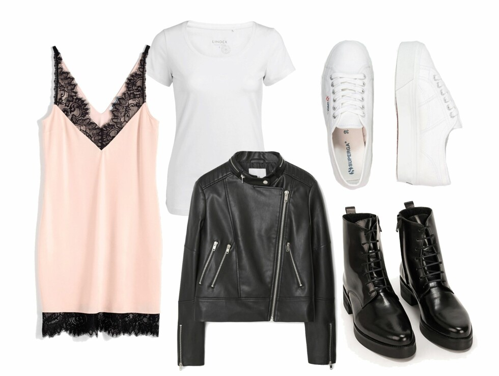 <strong>FESTIVALSTIL:</strong> Kjole fra Gina Tricot, kr 349. T-skjorte fra Lindex, kr 99. Jakke fra Mango, kr 349. Sneakers fra Superga via Zalando.no, kr 749. Boots fra Selected Femme via Nelly.com, kr 836. Foto: Produsentene, Zalando.no, Nelly.com