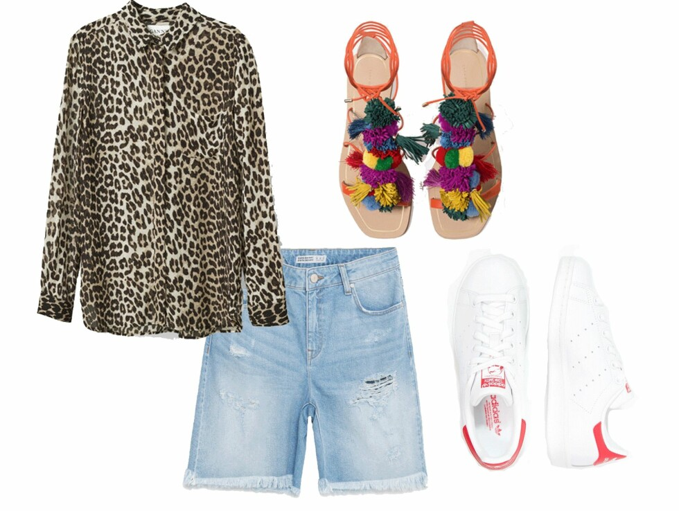 FESTIVALSTIL: Skjorte fra Ganni, kr 1099. Shorts fra Zara, kr 249. Sneakers fra Adidas via Zalando.no, kr 949. Foto: Produsentene, Zalando.no