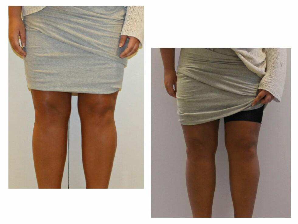 PRØV OG KLIPP: Er du usikker på hvor lang shortsen bør være, klipper du den først ganske lang, prøver den på og så klipper du igjen.  Foto: Malin Gaden