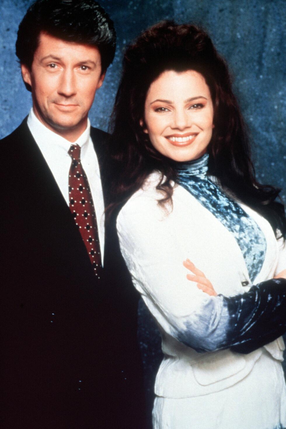 FORELSKET PÅ TV: Charles Shaughnessy og Fran Drescher spilte henholdsvis Maxwell Sheffield og Fran Fine i den populære TV-serien fra 90-tallet. Foto: NTB Scanpix