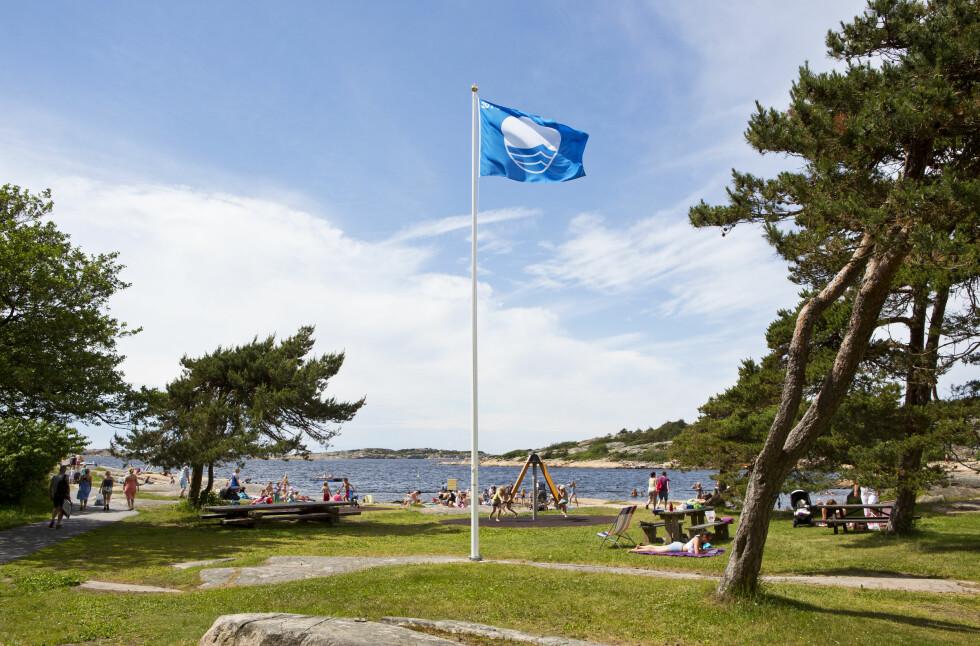 <strong>BLÅTT FLAGG:</strong> Ser du et slikt flagg kan du være trygg på at stranden eller marinaen har rent vann, rene omgivelser, tilstrekkelige toaletter som rengjøres regelmessig. Dette er en garanti for badeplassens kvalitet på flere områder.  Foto:  Foto: © Espen Bratlie / Samfoto