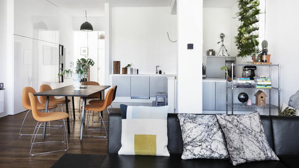 FRESH STUE: Bordet er fra HAY, og de oransje stolene er fra Gubi. Kjøkkenet er Poggenpohl, sprøytelakkert iSeidenGrau. En hel plantevegg med hyller i flere lag, der du kan sette hvite potter med grønne planter – så fresht! Foto: Gyrithe Lemche