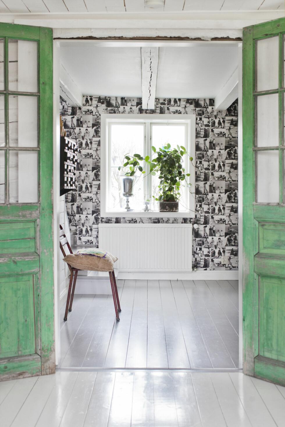 GRØNNE FARGETONER: Tapetet i gangen er fra Laura Ashley. De grønne dørene fikk Marlene av naboen. Med mange elementer og stilarter gjør en stram fargeskala uttrykket harmonisk. Her går det i sjøgrønne og turkisgrå toner. Foto: Lina Östling / IDECORimages.com