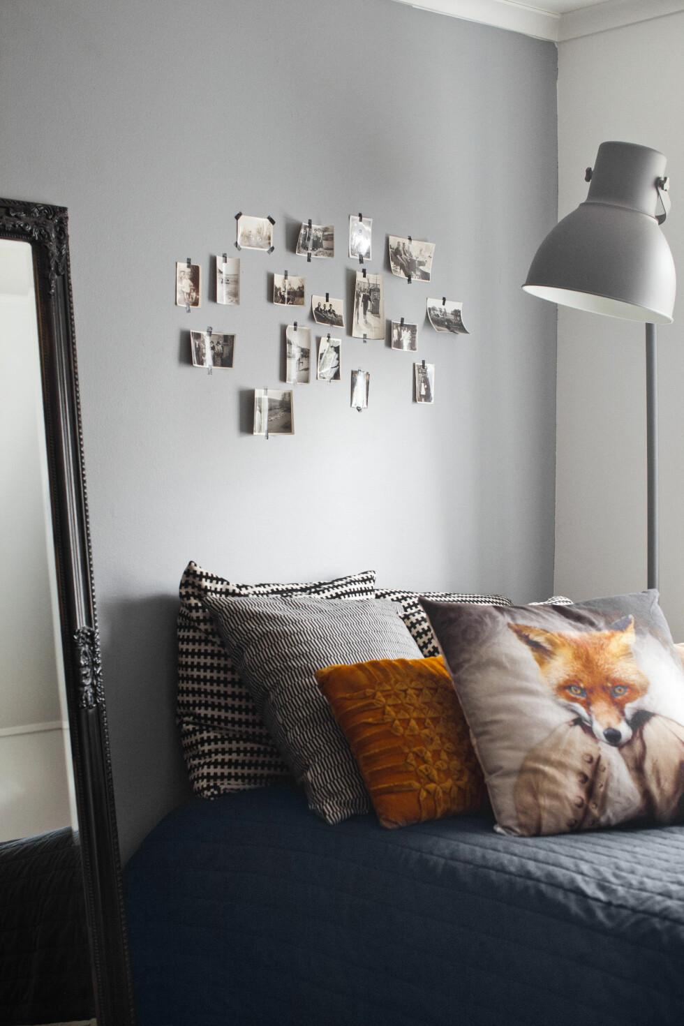 TRENDY SOVEROM: På Nellys soverom er gulvlampen fra Ikea og reveputen fra Fat Cat på Söder. Foto: Lina Östling / IDECORimages.com