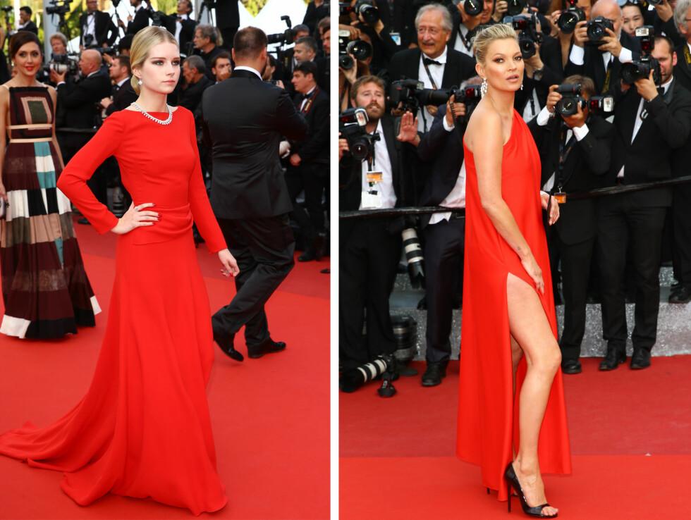 SOM TO DRÅPER VANN: Lottie (tv) og Kate dukket opp i knallrøde kjoler på samme filmpremiere under filmfestivalen i Cannes i helgen.  Foto: Scanpix