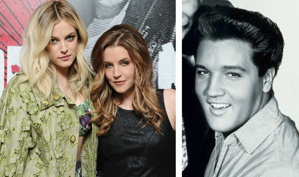 TRE GENERASJONER: Riley Keough (t.v.) er datteren til Lisa Marie Presley (i midten), som er datteren til den avdøde rockelegenden Elvis Presley. Foto: Scanpix