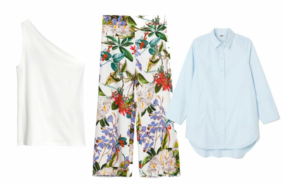 Topp fra H&M, kr 199. Bukse fra Zara, kr 349. Skjorte fra Weekday, kr 500. Foto: Produsenten