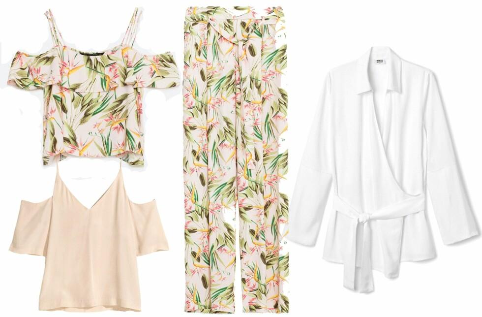 Topp med print fra Zara, kr 299. Topp i beige fra H&M, kr 349. Bukse fra Zara, kr 349. Skjorte fra Weekday, kr 450. Foto: Produsentene
