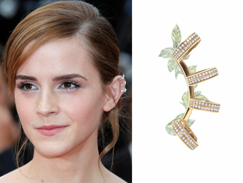 EMMA WATSON: Ear cuffs fra Repossi, kr 88.000. Foto: Scanpix, Stylight.no