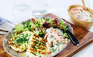#Kjøttfrimandag: Halloumiost med salat og oliventsatziki