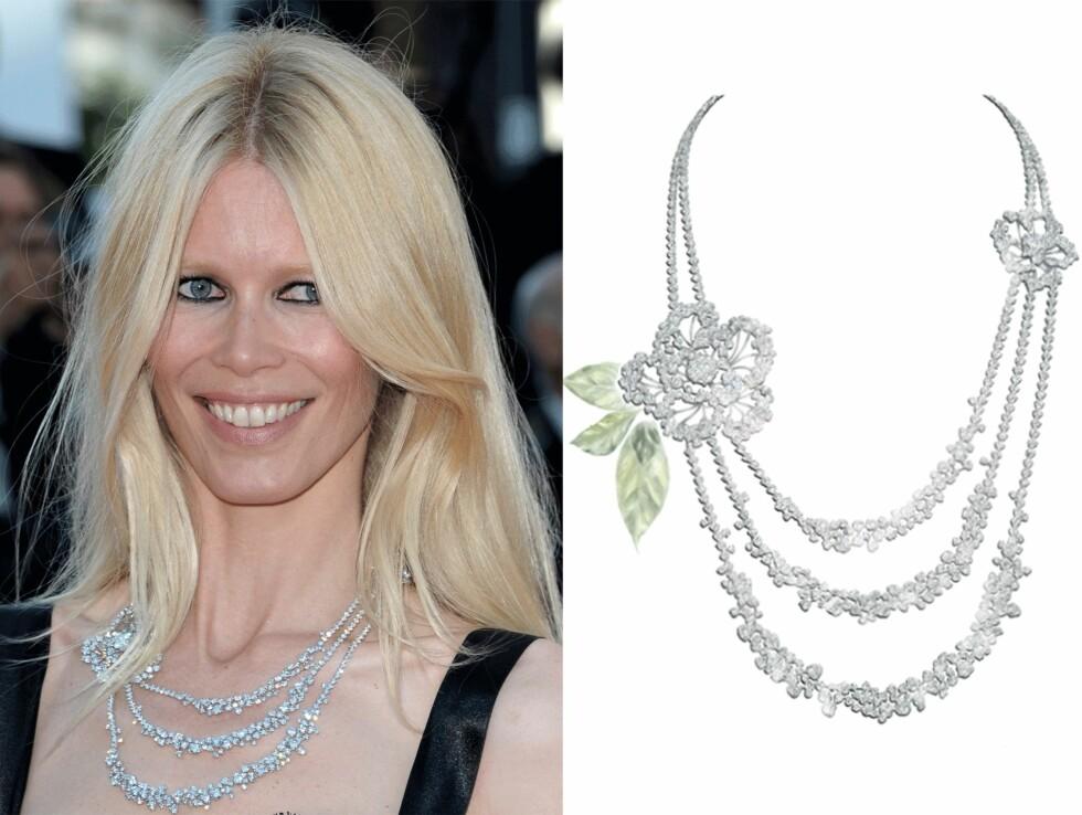 CLAUDIA SCHIFFER: Kjedet fra Chanel har en prislapp på over 9 millioner norske kroner. Foto: Scanpix, Stylight.no