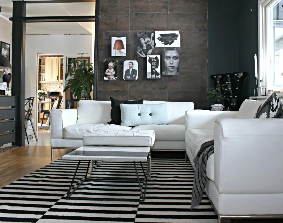 TV-STUEN: Alle vegger er malt for å lage et helhetlig inntrykk. Vintage designsofaer fra Finn. Bak sofaen har jeg hengt opp en plexiplate fra Biltema hvor jeg bytter ut bilder etter dagsform. Foto: Elisabeth Halbjørhus