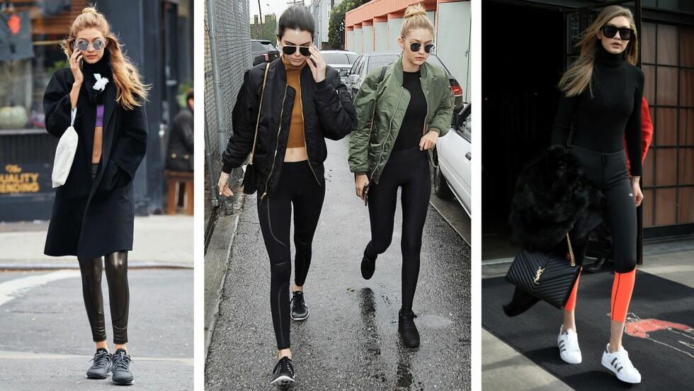 STJEL TRENINGSSTILEN: Gigi Hadid (21) og Kendall Jenner (20) har en stil mange vil stjele. Sjekk ut bildekollasjen nederst i saken og se hvordan du kan la deg inspirere av treningstøyet deres. Foto: Scanpix