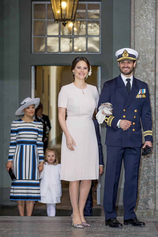 NYBAKTE FORELDRE: Prinsesse Sofia og prins Carl Philip kom uten sin to uker gamle sønn, prins Alexander. Foto: DPA