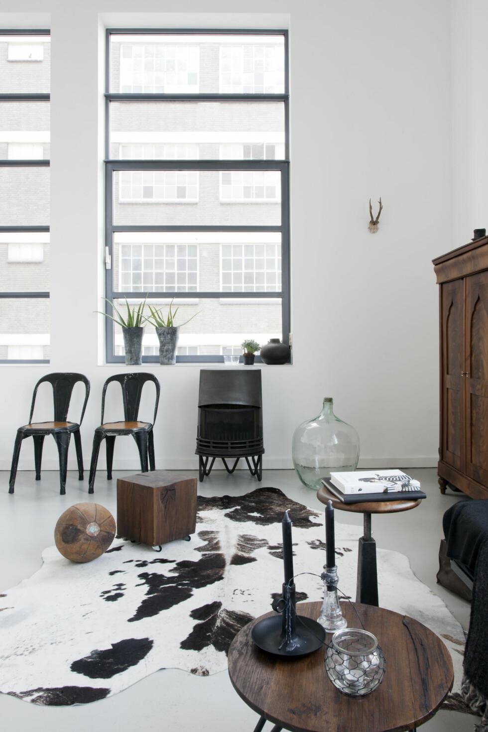 SAMME FARGETONE: Kun elementer i samme mørke bruntone eller svart får plass fremme ileiligheten. Slik danner såpass mange møbler iulike materialer en vakker helhet. Foto: Raul Candales Franch/IDECORimages.com