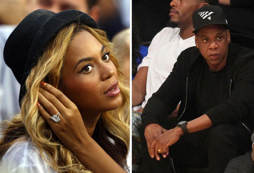PUT A RING ON IT: Jay Z og Beyoncé giftet seg 2008, og ga hverandre gifteringer i «flere millioner kroners klassen». Bildet av Jay Z er tatt i midten av april, mens bilde av Beyoncé er tatt i 2011. Foto: NTB Scanpix