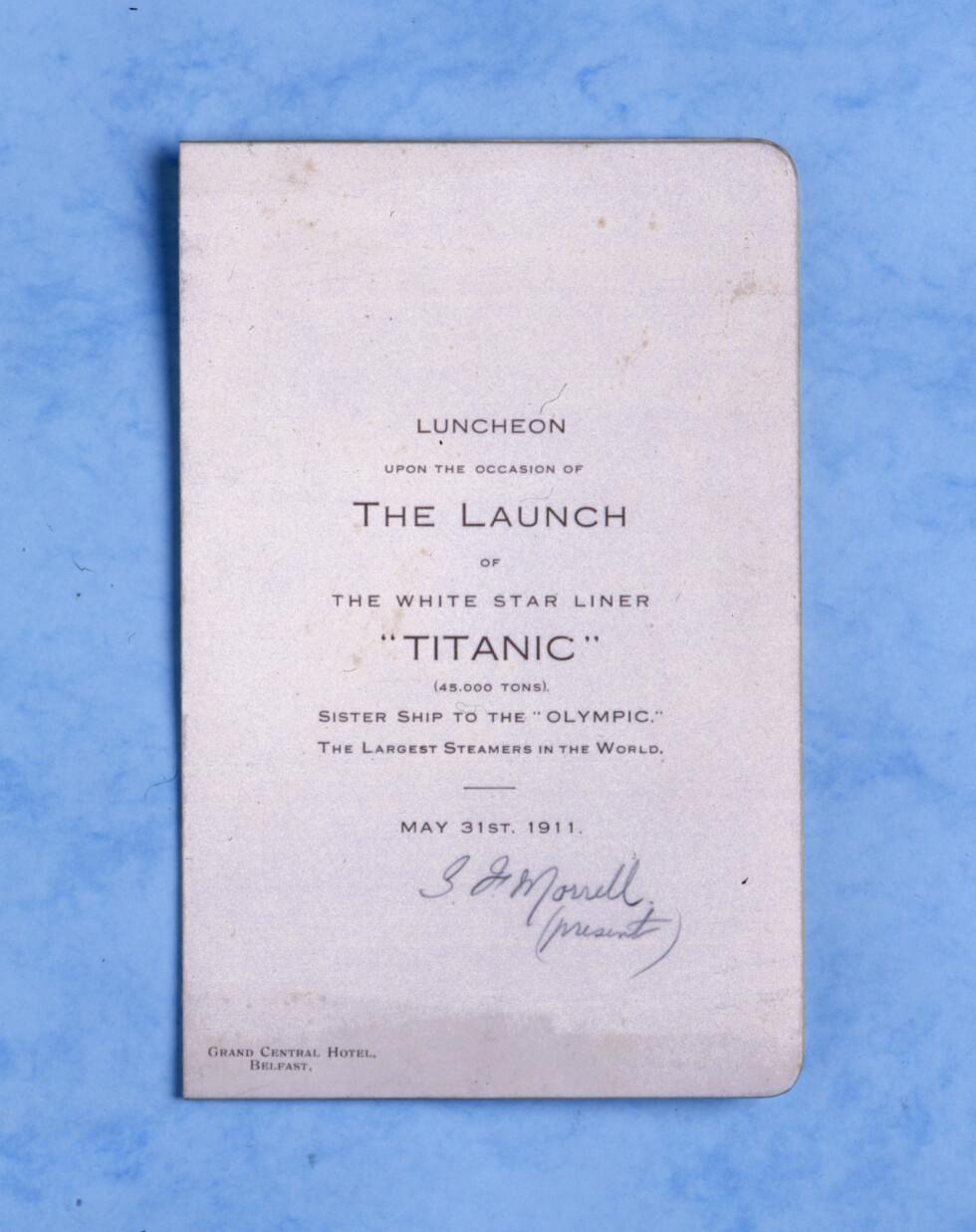 LUNCHEON: Den 31 May 1911 ble det holdt en storslått lunsj på the Grand Central Hotel i Belfast for å markere at Titanic nå straks var ferdigbygget. Foto: NTB Scanpix