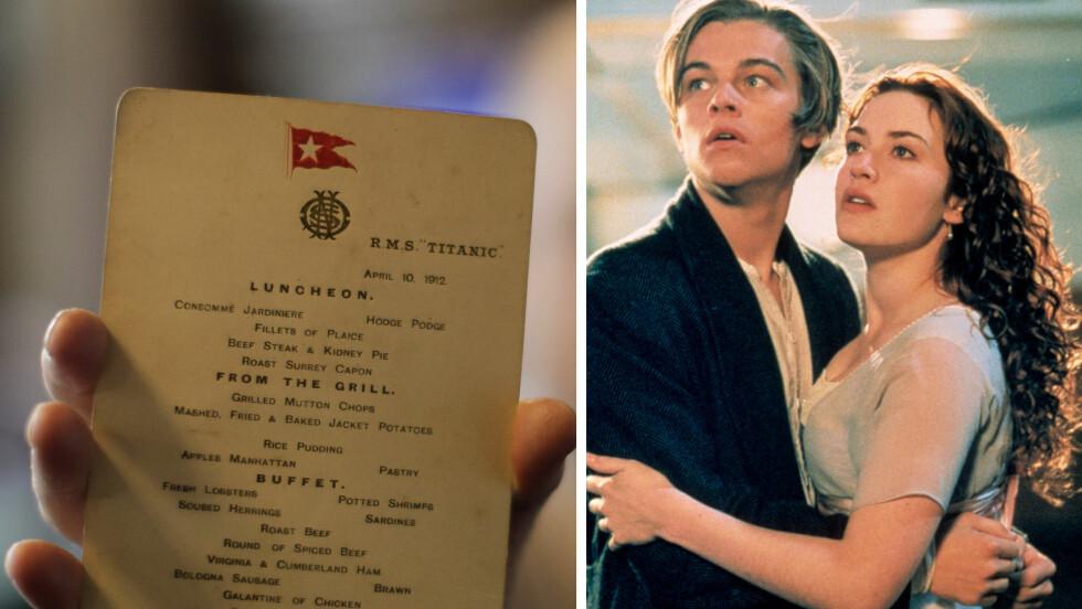 AUTENTISK: Dette er en original-meny fra Titanic som ble delt ut til passasjerene om bord på Titanic i 912. Leonardo DiCaprio og Kate Winslet spilte i den verdenberømte filmen med samme navn i 1997. Foto: NTB Scanpix