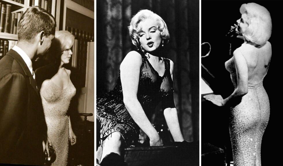 IKONISK: Marilyn Monroe ble ikke kalt et sexsymbol for ingenting. Bildet i midten er fra filmen Some Like It Hot (1959), mens bildet til høyre er fra da hun sang bursdagssangen for president John F. Kennedy i mai 1962. Foto: NTB Scanpix