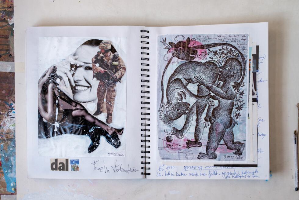 DAGBØKER: Gjennom mange år har Storn lagd bøker fylt av utklipp, ideer, sitater og tegninger. Foto: Bjørn Wad