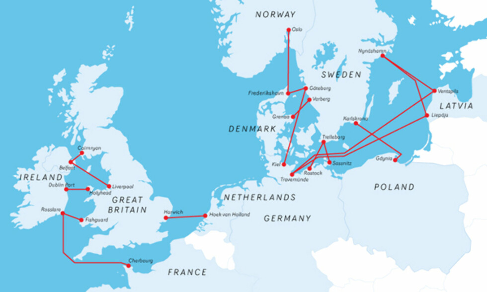 STORT RUTENETT: Med Stena Line sine mange ferger er det kort vei til resten av Europa.