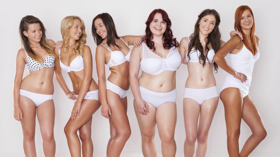FETTPROSENT: Du kan ikke alltid se hvem som har lavere og hvem som har høyere fettprosent. Du kan faktisk ha mindre fett enn venninnen din målt i kilo, selv om din prosent er høyere enn hennes. Foto: Shutterstock / gpointstudio