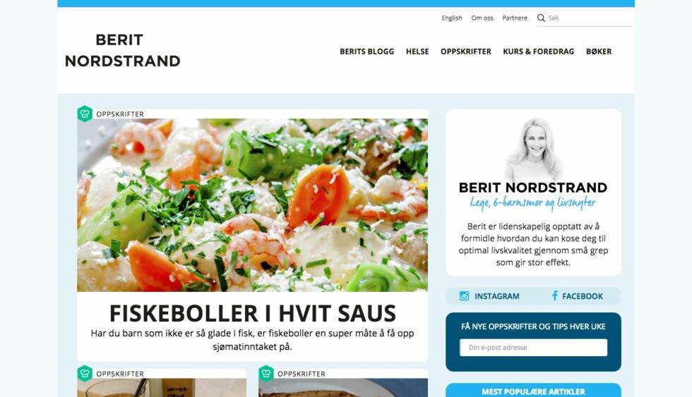 HELSEBLOGG: En av Helle Bornsteins inspirasjonskilder når det gjelder mat er lege Berit Nordstrands blogg, Berits blogg. Foto: Skjermpdump/http://beritnordstrand.no/