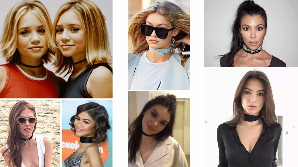 KJENDISENE ELSKER DEN: Mary-Kate og Ashley Olsen (øverst til venstre) så vi stadig på tv-skjermen med trendsmykket. Det begynner å bli noen år siden dette bildet ble tatt, men trenden lever fremdeles! Chiara Ferragni, Zendaya, Gigi Hadid, Kendall Jenner, Kourtney Kardashian og Emily Ratajkowski viser alle frem hver sin versjon her! Foto: Scanpix