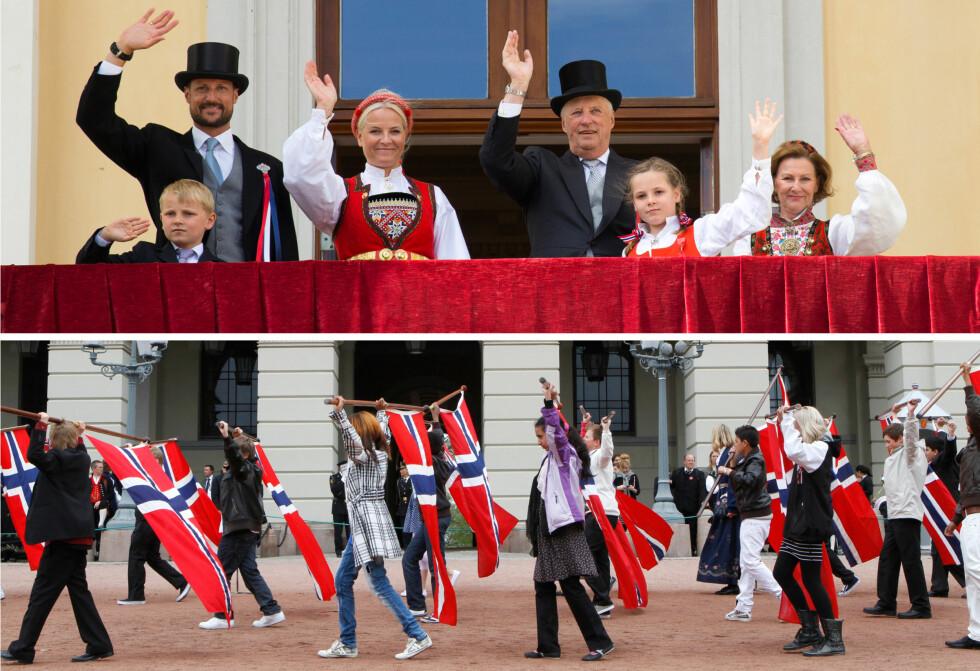 TRADISJONER: Nasjonaldagen er fullspekket av sang, dans, musikk, glede, latter, pølser og is! Vi gleder oss til å se kongefamilien atter en gang på slottsbalkongen. Foto: NTB Scanpix