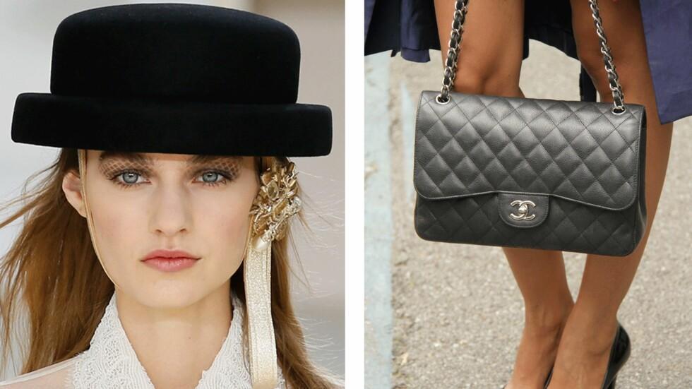 INSPIRERT AV SIN EGEN VESKE: Øyenskygge Chanel hadde valgt på modellene var inspirert av den klassiske vesken. Foto: Scanpix