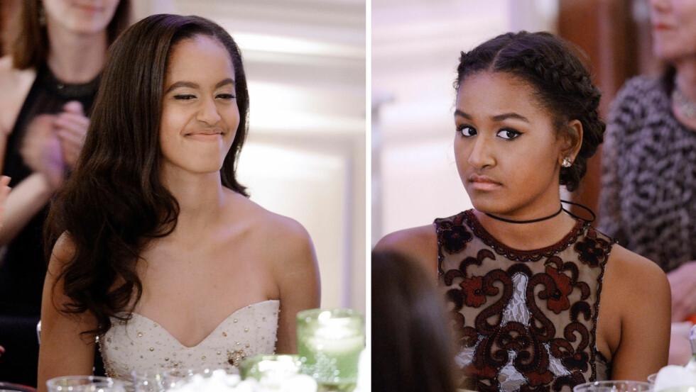 OBAMA: Malia (17) og Sasha (14) er døtrene til den amerikanske presidenten, og denne uken var de for aller første gang med på statsmiddag i det hvite hus.  Foto: NTB Scanpix