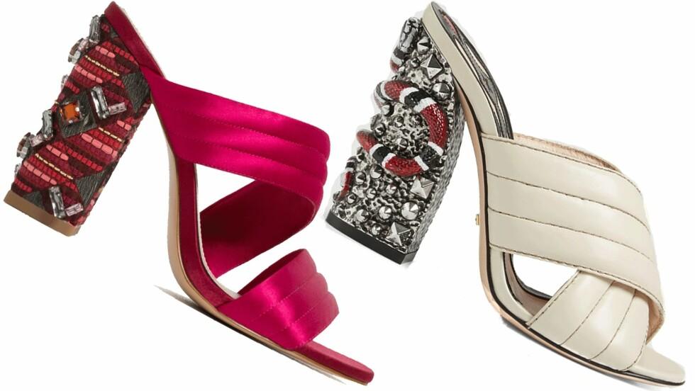 BILLIG VS DYR: Hælene til venstre er fra Zara og koster kroner 799. Hælene til høyre er fra Gucci og koster kroner 8472. Det utgjør en prisforskjell på kroner 7673. Foto: Produsentene