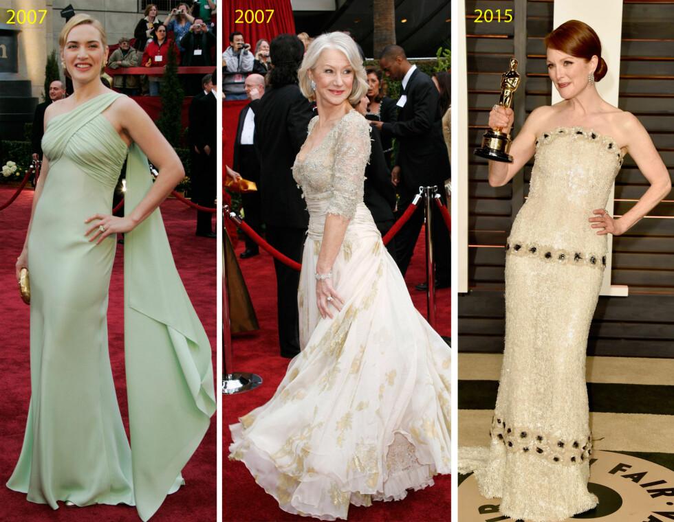<strong>FLOTTE KVINNER:</strong> Kate Winslet, Helen Mirren og Julianne Moore har alle vunnet Oscar - både statuetter og kjolefesten. Foto: NTB Scanpix