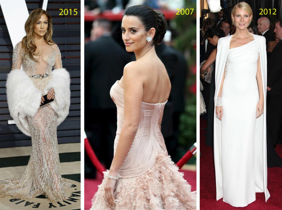 <strong>HOTTE SKJØNNHETER:</strong> Jennifer Lopez, Penelope Cruz og Gwyneth Paltrow er faste gjester under Oscar-festlighetene. Se som de stråler! Foto: NTB Scanpix