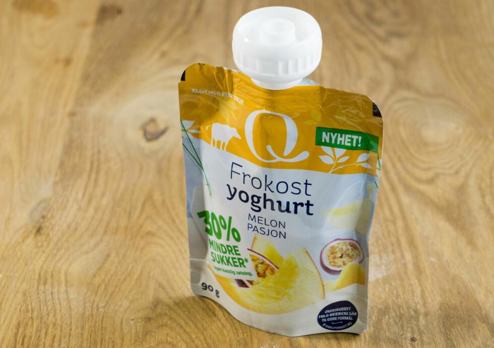 YOGHURTNYHET: Frokostyoghurt med melon- og pasjonsmak fra Q-meieriene.  Foto: Per Ervland