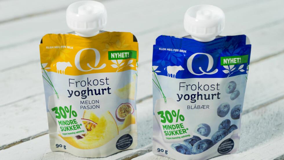 YOGHURTNYHETER: De nye frokostyoghurtene fra Q-Meieriene smaker godt, men hvordan er det med næringsinnholdet? Er de ok å spise til frokost eller egner de seg best som dessert?  Foto: Per Ervland