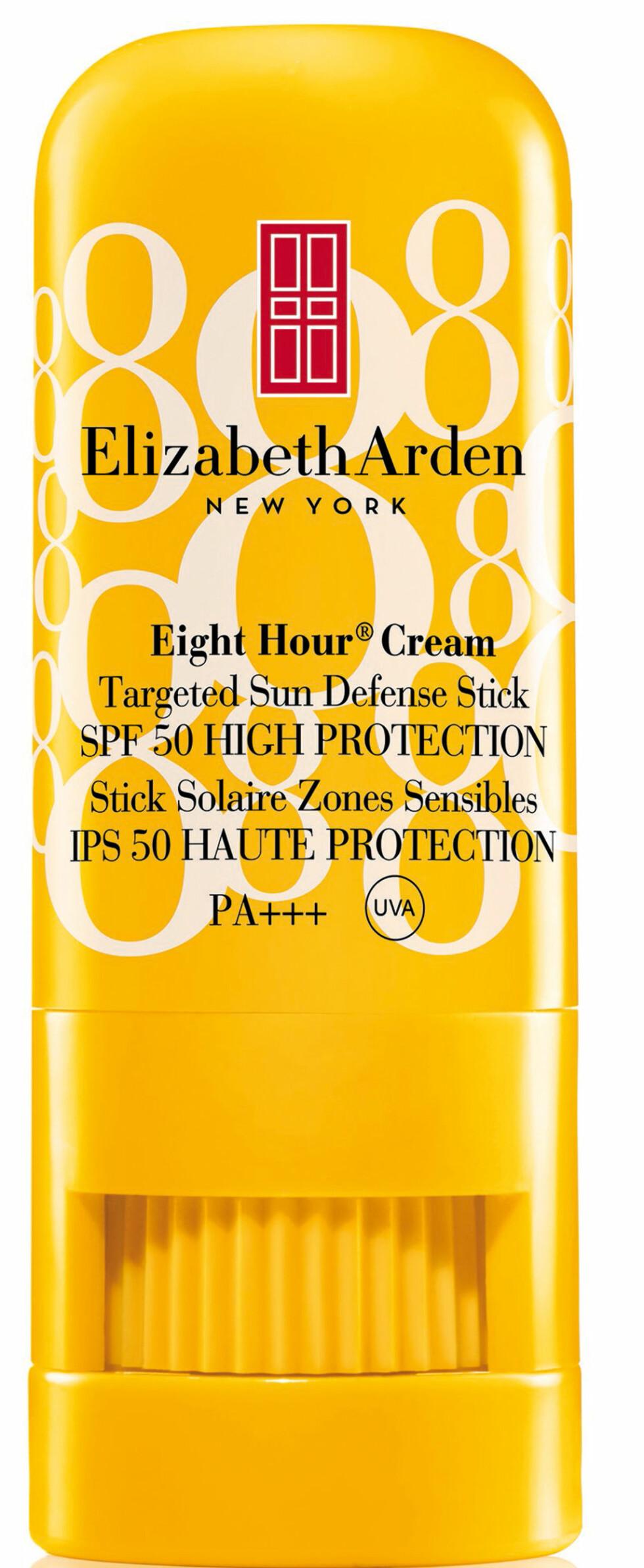 Solstift du bruker på de mest utsatte stedene som nese, kinn og lepper (kr 200, Elizabeth Arden, Eight Hour Cream Targeted Sun Defense Stick SPF 50). Foto: Produsenten