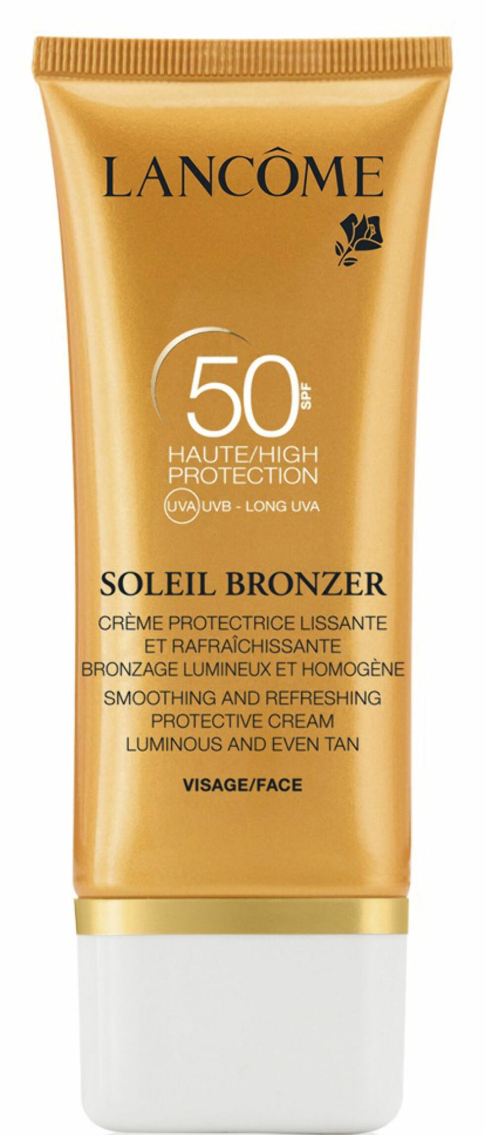 BB-krem med høy solfaktor og antioksidanter som beskytter huden ekstra (kr 275, Lancôme, Soleil Bronzer Smoothing Protective Cream Sun BB Cream SPF 50). Foto: Produsenten