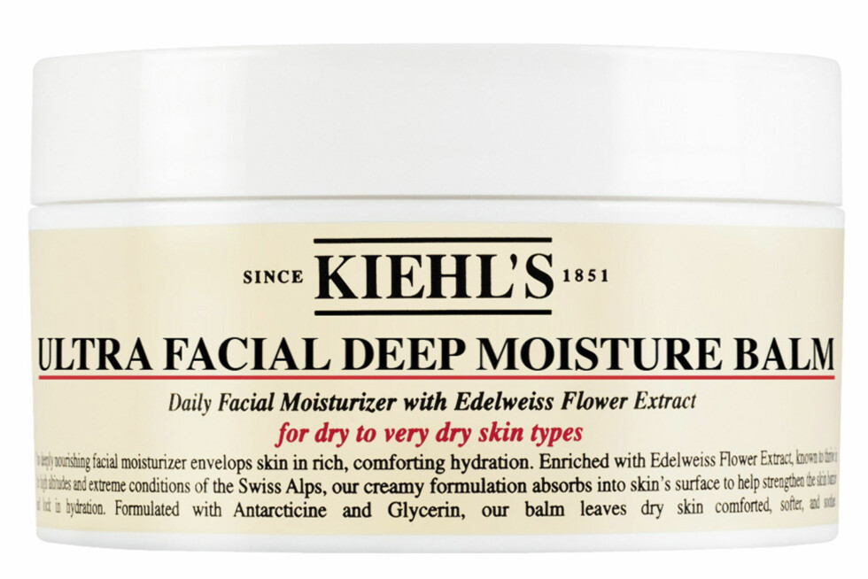 Beskytter huden godt med ekstra mye fukt og rik konsistens (kr 280, Kiehl's, Ultra Facial Deep Moisure Balm). Foto: Produsenten