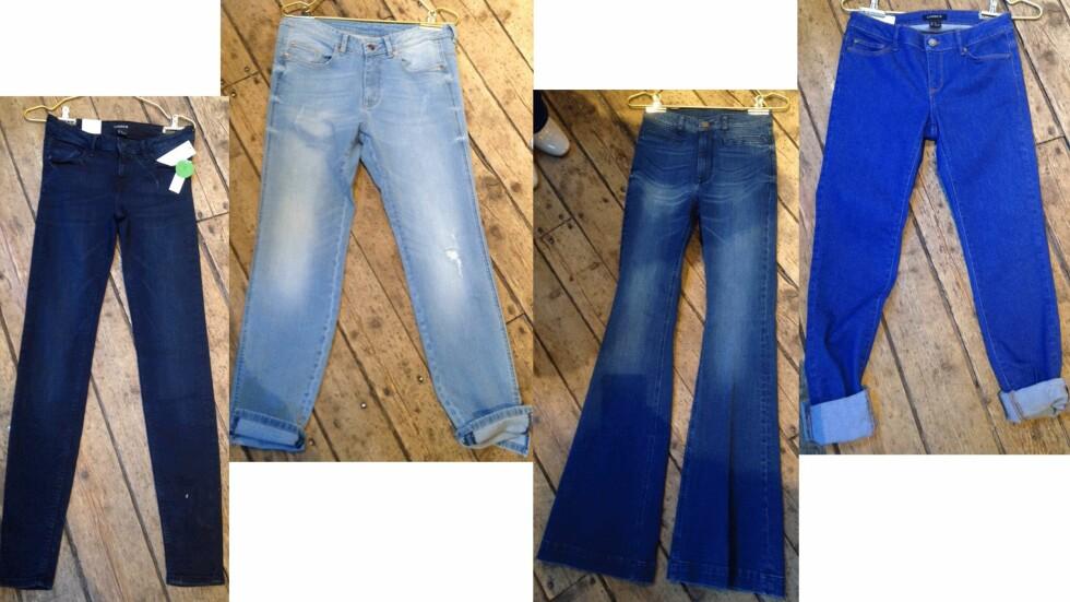 <strong>JEANS:</strong> Hva skal man velge? Rette jeans, boyfriend-versjonen, slengbukse eller de med ankellengde (fra venstre til høyre)? Les alle tipsene over. Foto: Ida Sandli Jensen