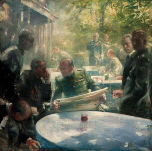 ANDRE VERDENSKRIG: Vebjørn Sand har latt seg inspirere av scener fra andre verdenskrig i denne maleriserien. Foto: Gudmund Sand