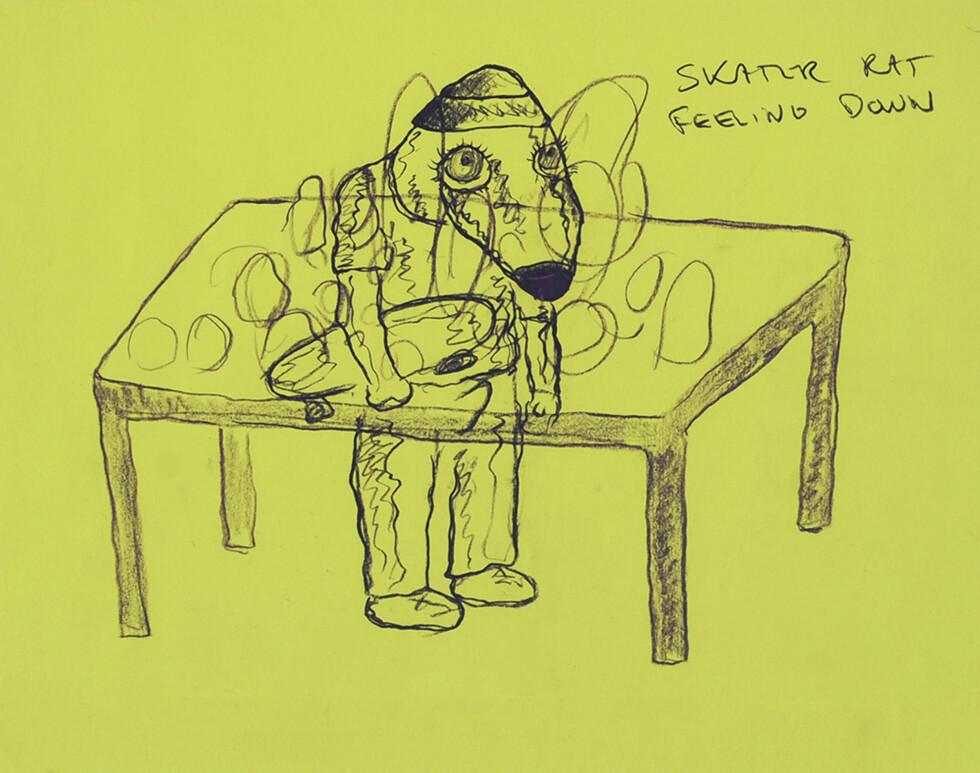 SKATER RAT: Skater Rat er en gjennomgangsfigur i flere av Melgaards bilder. Figuren er blitt tolket som et symbol på rotløs skaterungdom.  Foto: Bjarne Melgaard