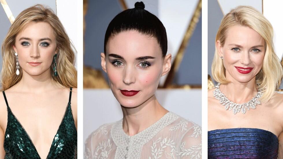 OSCAR: Det var tydelig at stjernene hadde gått for to ulike sminketrender under nattens Oscar-utdeling: Eyeliner kombinert med en naturlig leppe og øyenskygge i bruntoner med en rød leppe. Foto: Scanpix