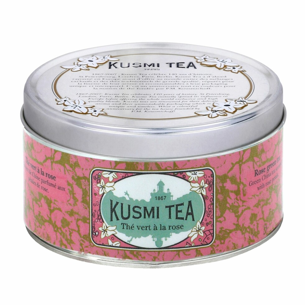 Grønn te med ballanserende rose (kr 170, Kusmi Tea, Rose Green Tea). Foto: Produsenten